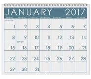 2017: Calendario: Mese di gennaio con il giorno del ` s del nuovo anno Fotografia Stock Libera da Diritti