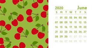 Calendario 2020 Mese di giugno Calendario murale inglese di vettore Ciliegia o modello senza cuciture allegro Schizzo disegnato a illustrazione di stock