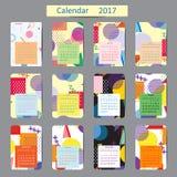 Calendario 2017 Modelli con gli ambiti di provenienza geometrici Vettore Fotografia Stock