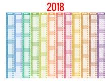 calendario 2018 Modello della stampa La settimana comincia domenica Orientamento del ritratto Un insieme di 12 mesi Pianificatore Immagine Stock