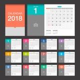 calendario 2018 Modello di progettazione moderna del calendario da scrivania Immagini Stock Libere da Diritti