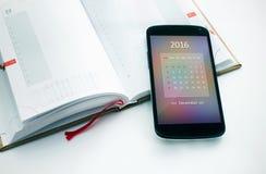Calendario moderno dello smartphone per 2016 Fotografia Stock Libera da Diritti