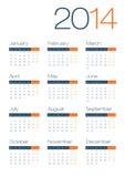 Calendario moderno e pulito di affari 2014 Fotografia Stock Libera da Diritti