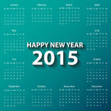 Calendario moderno 2015 en estilo del papel de color rojo vector/ejemplo Fotos de archivo