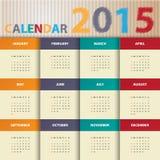 Calendario moderno 2015 en estilo del papel de color rojo vector/ejemplo Imagenes de archivo
