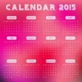 Calendario moderno 2015 en estilo rojo del fondo de la falta de definición Ración del vector/del illust Foto de archivo libre de regalías