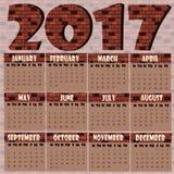 Calendario murale 2017 di muro di mattoni Fotografia Stock