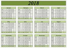 Calendario murale per colore verde dell'ufficio Fotografia Stock