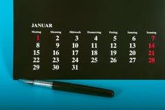 Calendario negro Foto de archivo libre de regalías