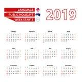 Calendario 2019 nella lingua inglese con le feste nazionali il conteggio