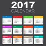 Calendario 2017 nello stile orizzontale illustrazione di stock