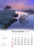Calendario 2014. Novembre. Fotografie Stock Libere da Diritti
