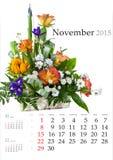 Calendario 2015 noviembre Fotos de archivo libres de regalías