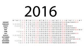 Calendario orizzontale per 2016 su bianco Fotografie Stock Libere da Diritti