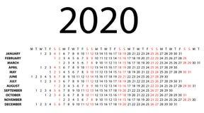 Calendario orizzontale per 2020 su bianco Fotografia Stock