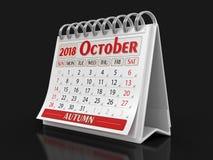 Calendario - ottobre 2018 Fotografia Stock