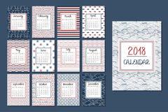 Calendario para 2018 Imagen de archivo libre de regalías