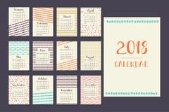 Calendario para 2018 Imagenes de archivo