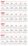 Calendario para 2007, 2008, 2009 y 2010 Fotos de archivo libres de regalías