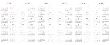 Calendario para 2009, 2010, 2011, 2012, 2013 y 2014 Fotos de archivo libres de regalías