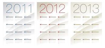 Calendario para 2011, 2012 y 2013 Fotos de archivo libres de regalías
