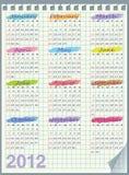 Calendario para 2012. El comienzo de la semana con domingo. Le Fotografía de archivo