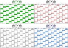 Calendario para 2012 en inglés Imágenes de archivo libres de regalías