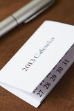 Calendario para 2013 con la pluma Imágenes de archivo libres de regalías