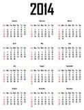 Calendario para 2014 Foto de archivo libre de regalías