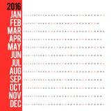 Calendario para 2016 Foto de archivo