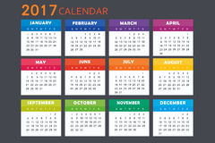 Calendario para 2017 Fotografía de archivo libre de regalías