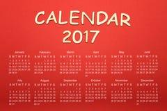 Calendario para 2017 Fotos de archivo libres de regalías
