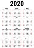 Calendario para 2020 Fotos de archivo libres de regalías