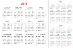 Calendario para 2018, 2019, 2020 años Foto de archivo libre de regalías