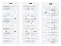 Calendario para 2018, 2019, 2020 años en el vector blanco del fondo Fotos de archivo