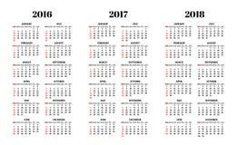 Calendario para 2016, 2017, 2018 años en el vector blanco del fondo Fotografía de archivo