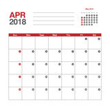 Calendario para abril de 2018 Fotos de archivo libres de regalías