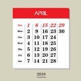 Calendario para abril de 2018 Imagenes de archivo
