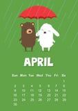 Calendario para abril de 2017 con el conejo y el oso lindos de conejito debajo del paraguas en fondo verde Foto de archivo libre de regalías