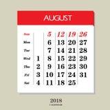 Calendario para agosto de 2018 Imagen de archivo