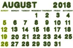 Calendario para agosto de 2018 en el fondo blanco Foto de archivo