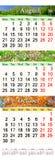 Calendario para agosto-octubre de 2017 con las imágenes coloreadas Fotos de archivo libres de regalías