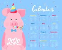 Calendario para 2020 Comienzo de la semana el domingo Cerdo lindo en sombreros de un partido y ventiladores rayados del cuerno An ilustración del vector
