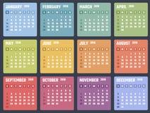 Calendario para 2018 comienzos domingo, diseño del calendario del vector 2018 años Fotografía de archivo libre de regalías