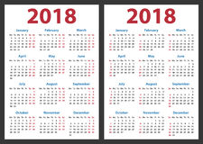 Calendario para 2018 comienzos domingo y lunes, diseño del calendario del vector 2018 años ilustración del vector