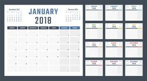 Calendario para 2018 comienzos lunes, diseño del calendario del vector 2018 años Imagen de archivo