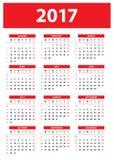 Calendario para 2017 con números de la semana Comienzo de la semana el lunes Imagenes de archivo