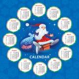 Calendario para 2018 con Papá Noel ilustración del vector