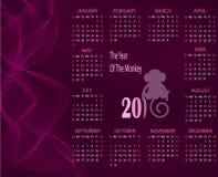 Calendario para 2016 con un mono en un fondo púrpura Imágenes de archivo libres de regalías