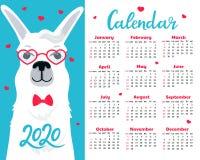 Calendario para 2020 de domingo a sábado Llama linda en vidrios y corbata de lazo Alpaca en personaje de dibujos animados del amo ilustración del vector